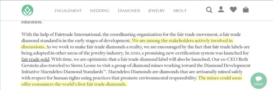 "Brilliant Earth's claims here—of being involved in developing ""fair trade"" diamonds—are misleading."