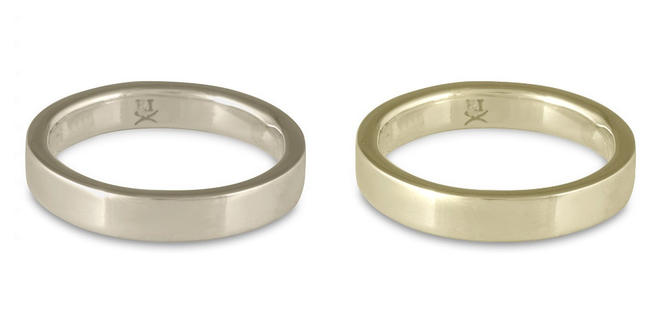 Simple, plain white gold wedding bands in 14K and 18K. These are comfort fit white gold wedding bands, each 4mm wide.