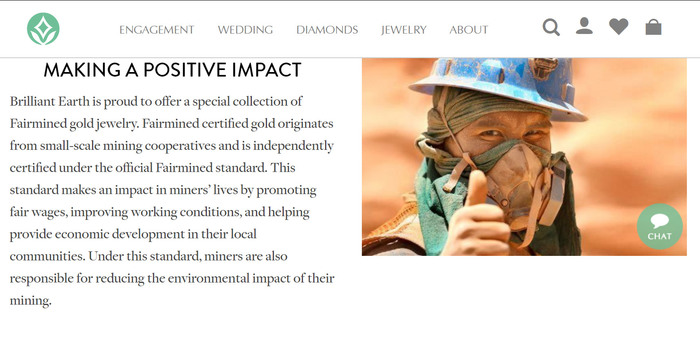 Brilliant Earth advertises Fairmined Gold on their website—yet they do not offer any Fairmined Gold products for sale.