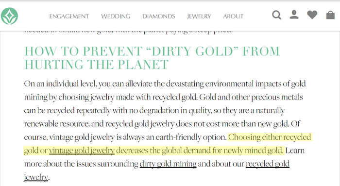 Brilliant Earth falsely claims here that recycled gold reduces gold mining activity. It does not.