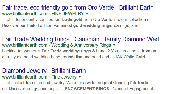 "Brilliant Earth markets itself online as selling ""fair trade"" gold, which is does not offer."