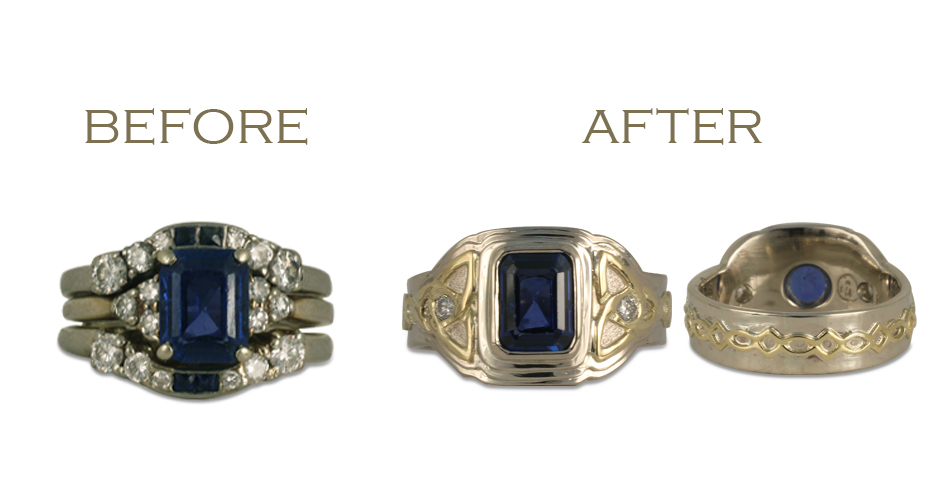 Resetting engagement rings also works with sapphires, and other gemstones! Here, we reset this sapphire in a gorgeous new engagement ring design.