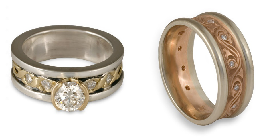 A two tone diamond engagement ring with yellow gold and white gold, and a two tone engagement ring with white and rose gold.