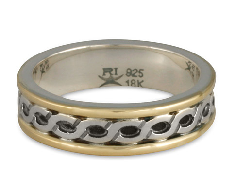 Our Bordered Rope Two Tone Wedding Band, handmade by Reflective Jewelry.
