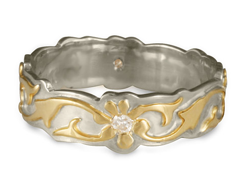 Borderless Persephone Wedding Ring with Gems, handmade by Reflective Jewelry