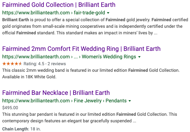 Brilliant Earth engages in clickbait centered around Fairmined Gold, which they do not offer for sale on their site.