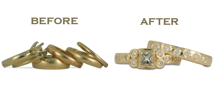 We can combine two rings into one, or even combine four rings into one! Redesigning wedding rings is completely up to you.