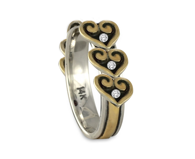 You can see from this custom ring design, which features 6 hearts and diamonds, that we can make old jewelry into new jewelry of any kind!