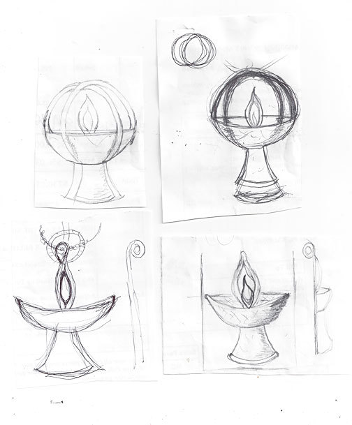 Send us a sketch of the custom jewelry design you're looking for, and we'll help make it a reality! Here, a drawing of a Unitarian Universalist Chalice — which we used to create a custom Chalice pendant.