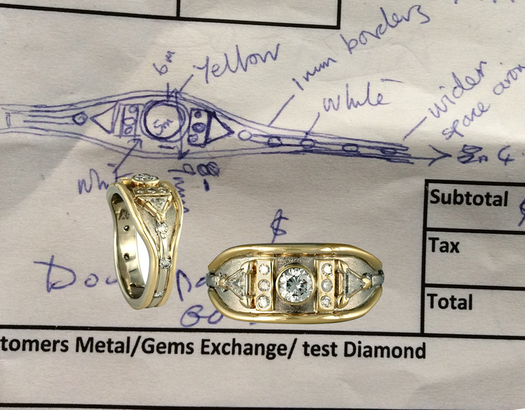 We can work with your sketch for your jewelry redesign, as shown here.