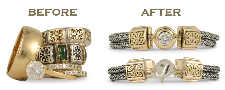 When it comes to redesigned jewelry, we can reuse your old gold to make anything — even a custom gold bracelet, as shown.