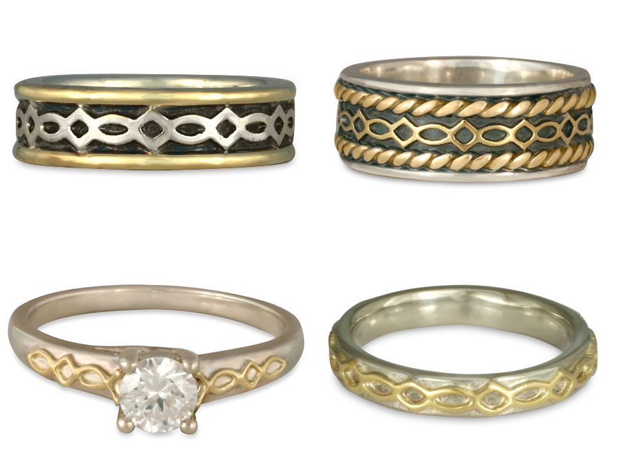 Our Felicity Two Tone Wedding Rings and Engagement Rings come in a range of styles and colors.