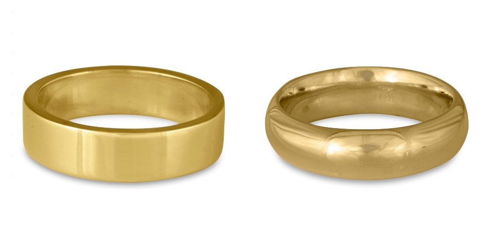 Our classic comfort fit wedding rings can be flat topped or dome topped, and are available in any width you choose!