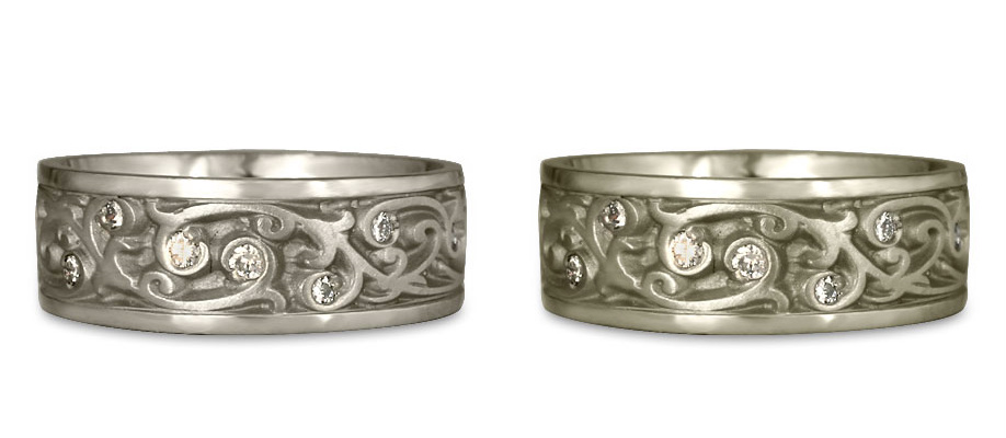 A 14K White Gold wedding ring vs an 18K White Gold wedding ring.
