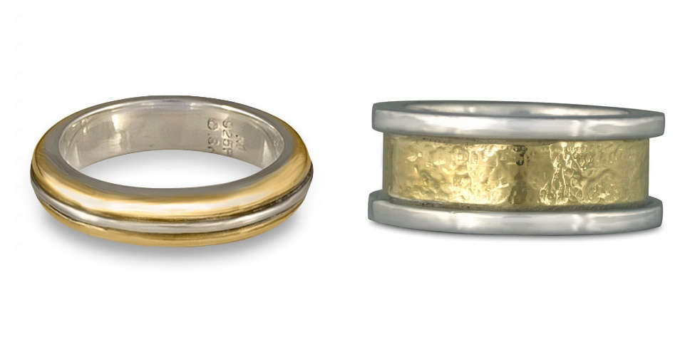 These two classic two tone wedding rings are both simple designs, but distinctly different.