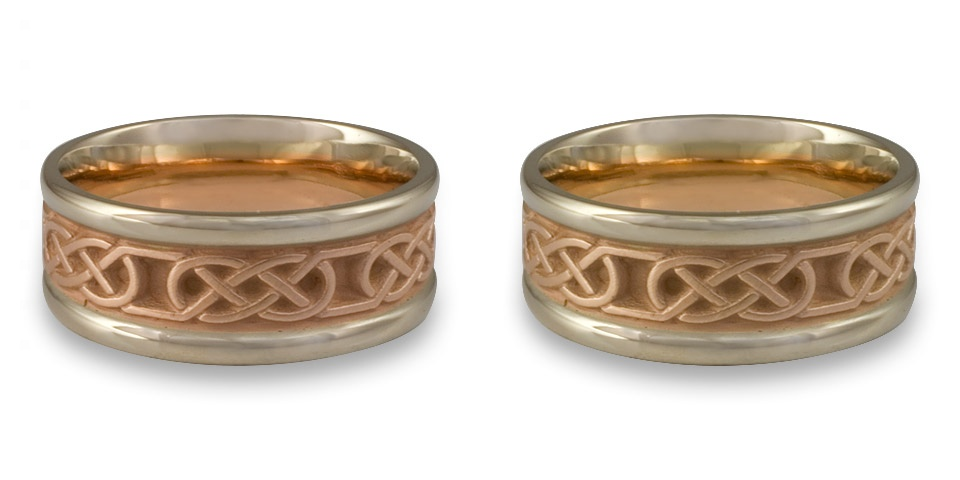 These two tone wedding rings with rose gold and white are slightly different: 14K rose and white gold on the left, 18K on the right!