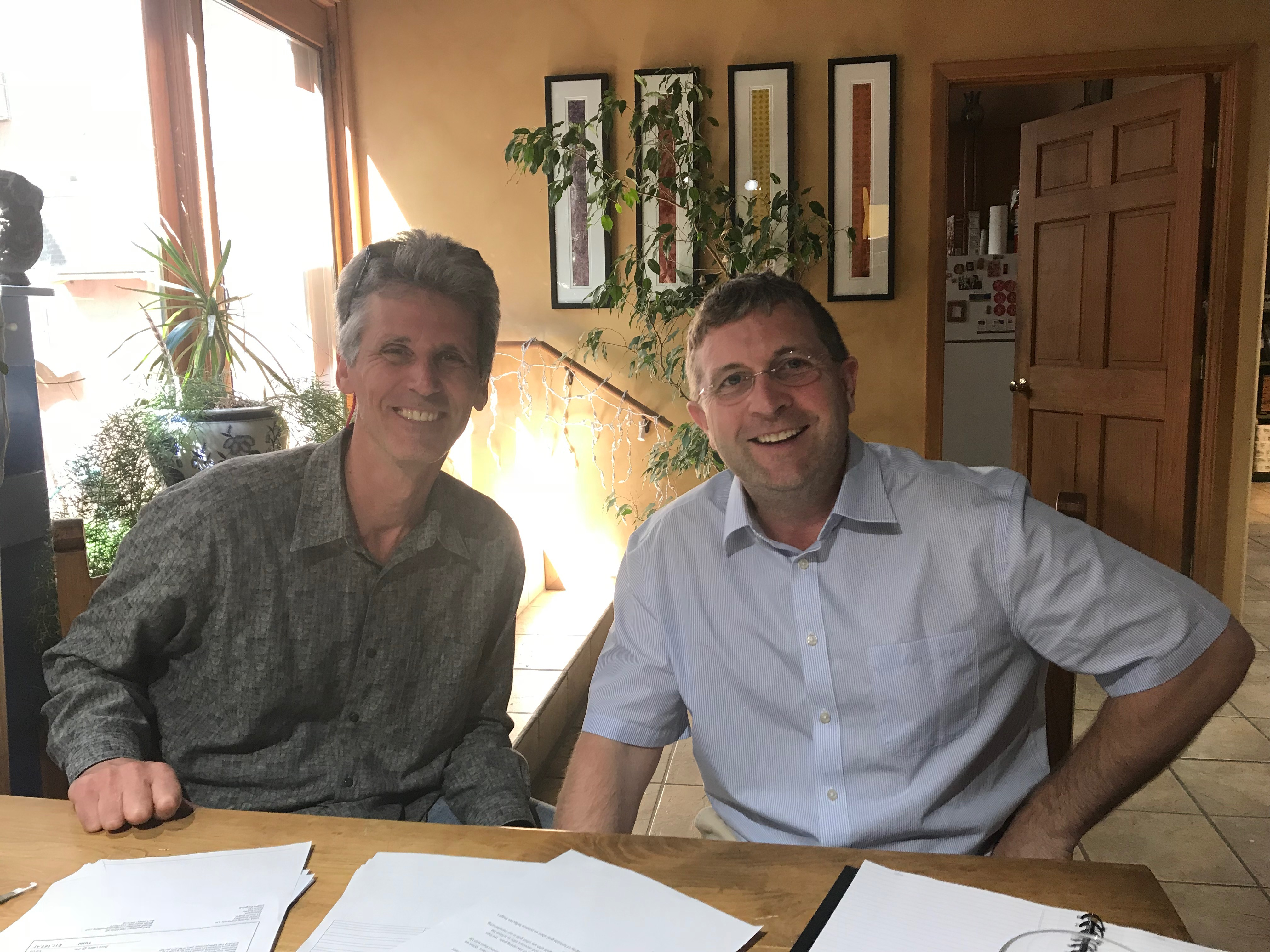 Marc Choyt, co-owner and President of Reflective Jewelry, left, is pictured here with Mark Carroll of FLOCert (associated with Fairtrade International.). Carroll flew to our Santa Fe, NM studio to conduct an audit of our Fairtrade Gold supply.