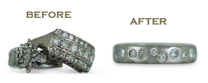 We can repurpose vintage jewelry and diamond rings into more contemporary redesigns.