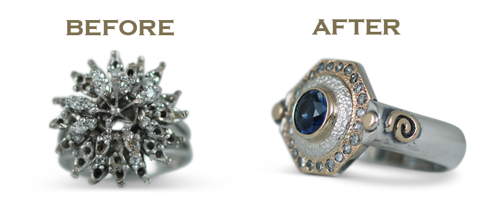 Wondering how to recycle a wedding ring? Why not turn it into a brand new wedding ring redesign! Check out this before and after.