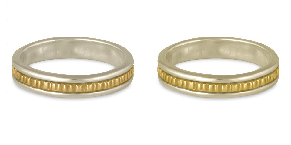 These two tone wedding bands demonstrate the differences between 14K and 18K white gold and yellow gold.