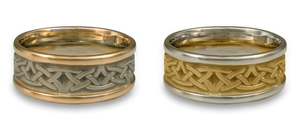 Narrow Two Tone Celtic Arches Wedding Rings, handmade by Reflective Jewelry.