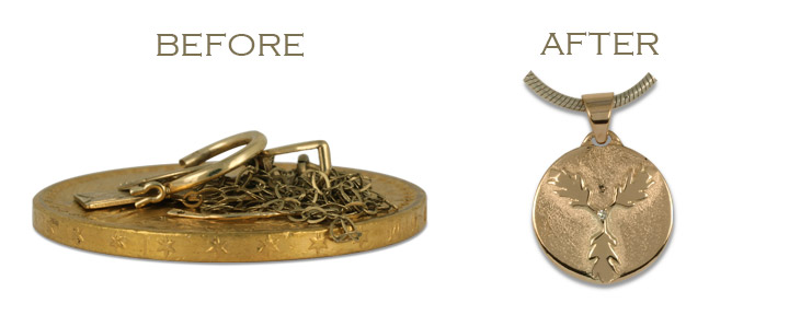 When repurposing old jewelry into new, we can use old gold coins or any old gold scrap!