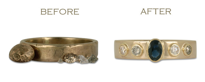 This jewelry transformation before and after involved repurposing an old wedding ring, and resetting several diamonds into one new diamond engagement ring.