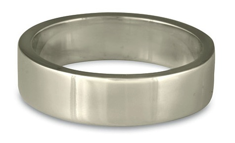 One of our flat-topped comfort fit wedding bands, shown in Platinum.