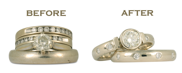 This custom engagement ring and wedding ring set is based on designs in our own collection. With us, redesigning wedding rings and engagement rings is a cinch!