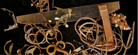 Most pieces of jewelry made leave behind little pieces of scrap sheet and wire. This material is collected, refined, and reused.