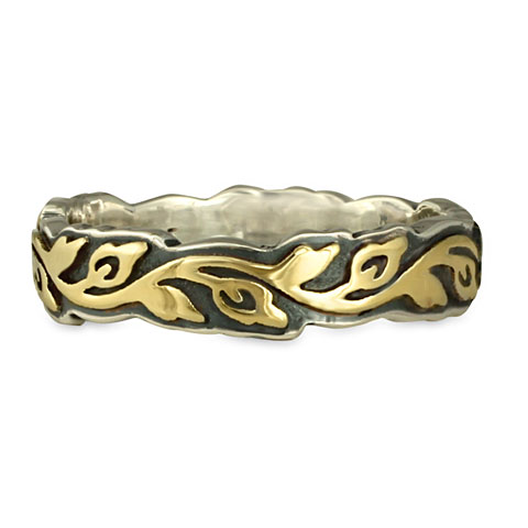This two tone gold over silver wedding ring is both handmade and affordable!