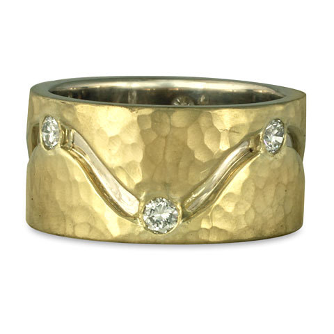 This hammered ring is a custom variation of our Hammered River Ring, shown here with added diamonds.