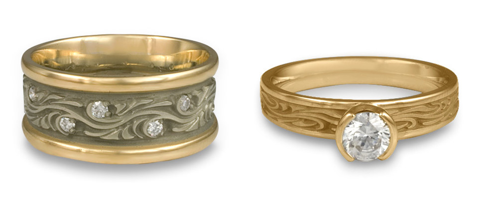Starry Night Wedding Band (left) and Engagement Ring (right), handmade by Reflective Jewelry.