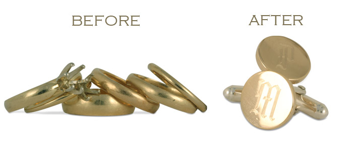 Turn four old wedding rings into a pair of cufflinks? No problem! We can recycle old wedding rings into any sort of new jewelry design.
