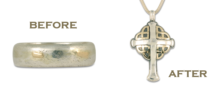 We can turn an old wedding ring into a cross pendant necklace when redesigning old jewelry.