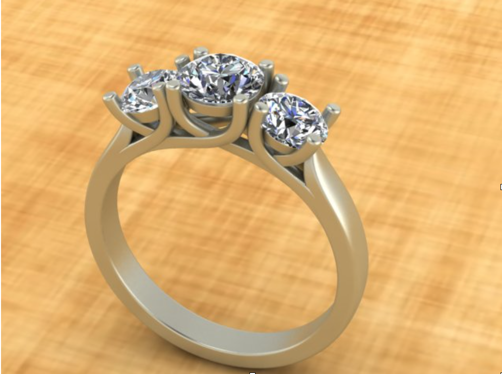 The initial drawing of a custom diamond engagement ring, made using CAD/CAM software.