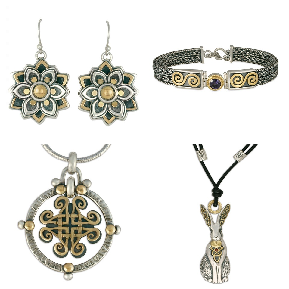 Our two tone jewelry made of gold over silver comes in a huge range of earrings, pendants, necklaces, and bracelets.
