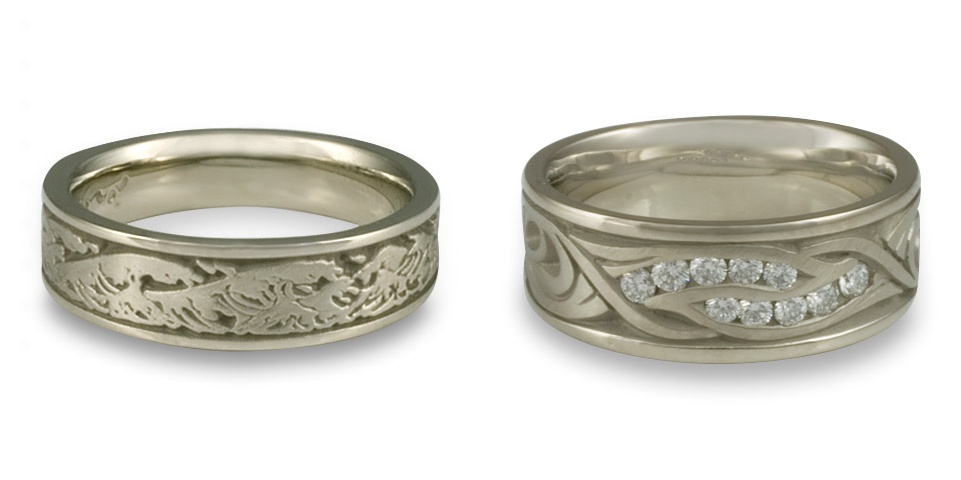 These 14K white gold wedding bands are hardly simple! The result of talented wax carving, these ornate designs are part of what make a jeweler like us so special.