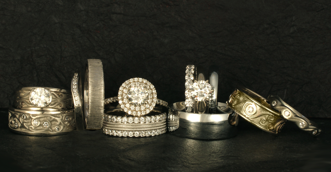 These white gold wedding rings and engagement rings represent just a few designs from our rather extensive collection.