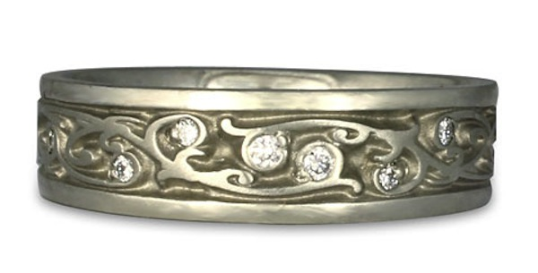 white gold wedding ring with gems
