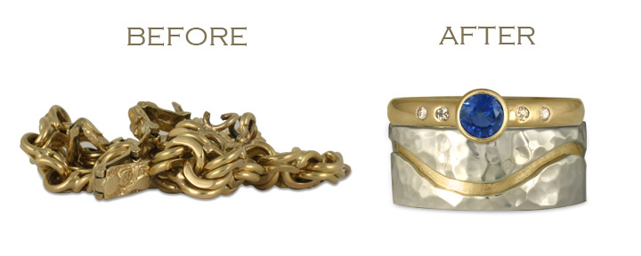 To repurpose this vintage jewelry, we turned a bracelet into two wedding rings of our own design.