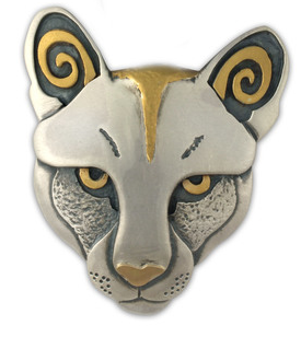 Mountain Lion pendant with silver and fair trade gold by Reflective Jewelry