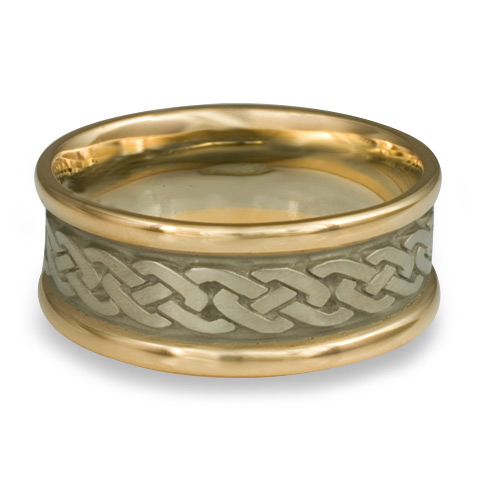 Narrow Two Tone Celtic Link Wedding Ring in 14K Gold Yellow Borders/White Center Design