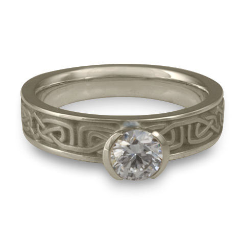 Extra Narrow Labyrinth Engagement Ring in 14K White Gold With Diamond
