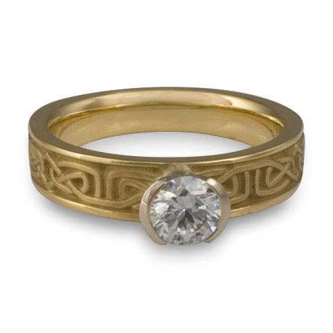 Extra Narrow Labyrinth Engagement Ring in 14K Yellow Gold