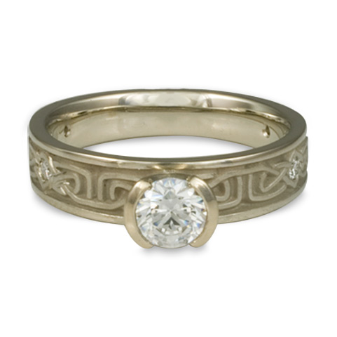 Extra Narrow Labyrinth Engagement Ring with Gems in 14K White Gold