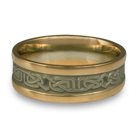 Extra Narrow Two Tone Labyrinth Wedding Ring in 14K YellowGold Borderswith White Center