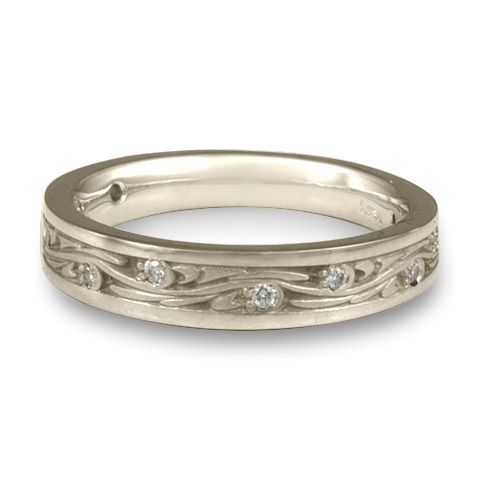 Extra Narrow Starry Night Wedding Ring with Gems in Platinum