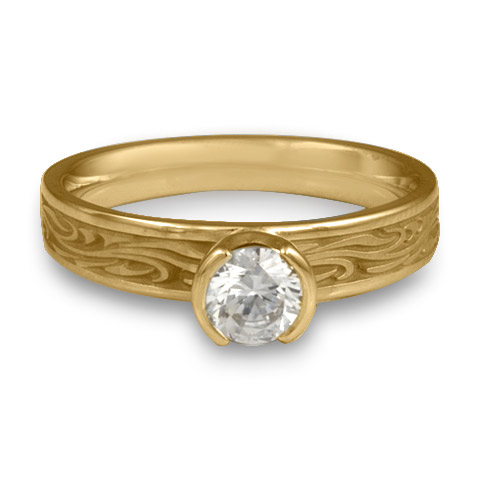 Extra Narrow Starry Night Engagement Ring in 14K Yellow Gold with Diamond