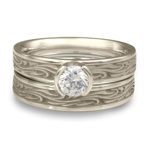 Extra Narrow Starry Night Bridal Ring Set in Platinum